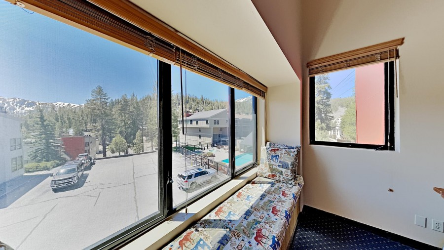 Views of Mammoth and Sherwin Mountains and pool and spas