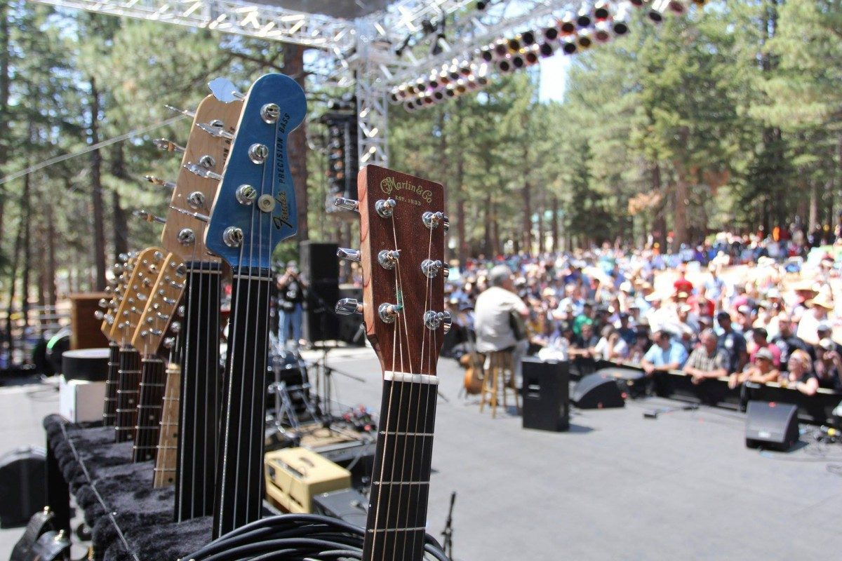 Guitars on stage at the Mammoth Blues Festival