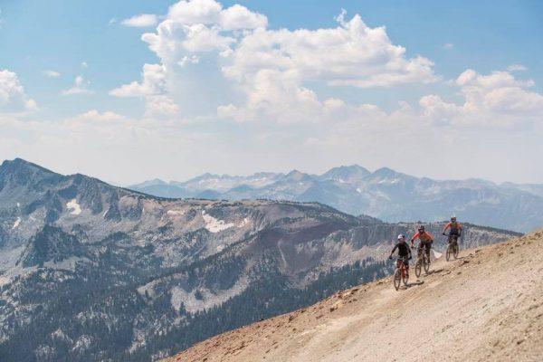 3 bikers biking in the mammoth mountain bike park