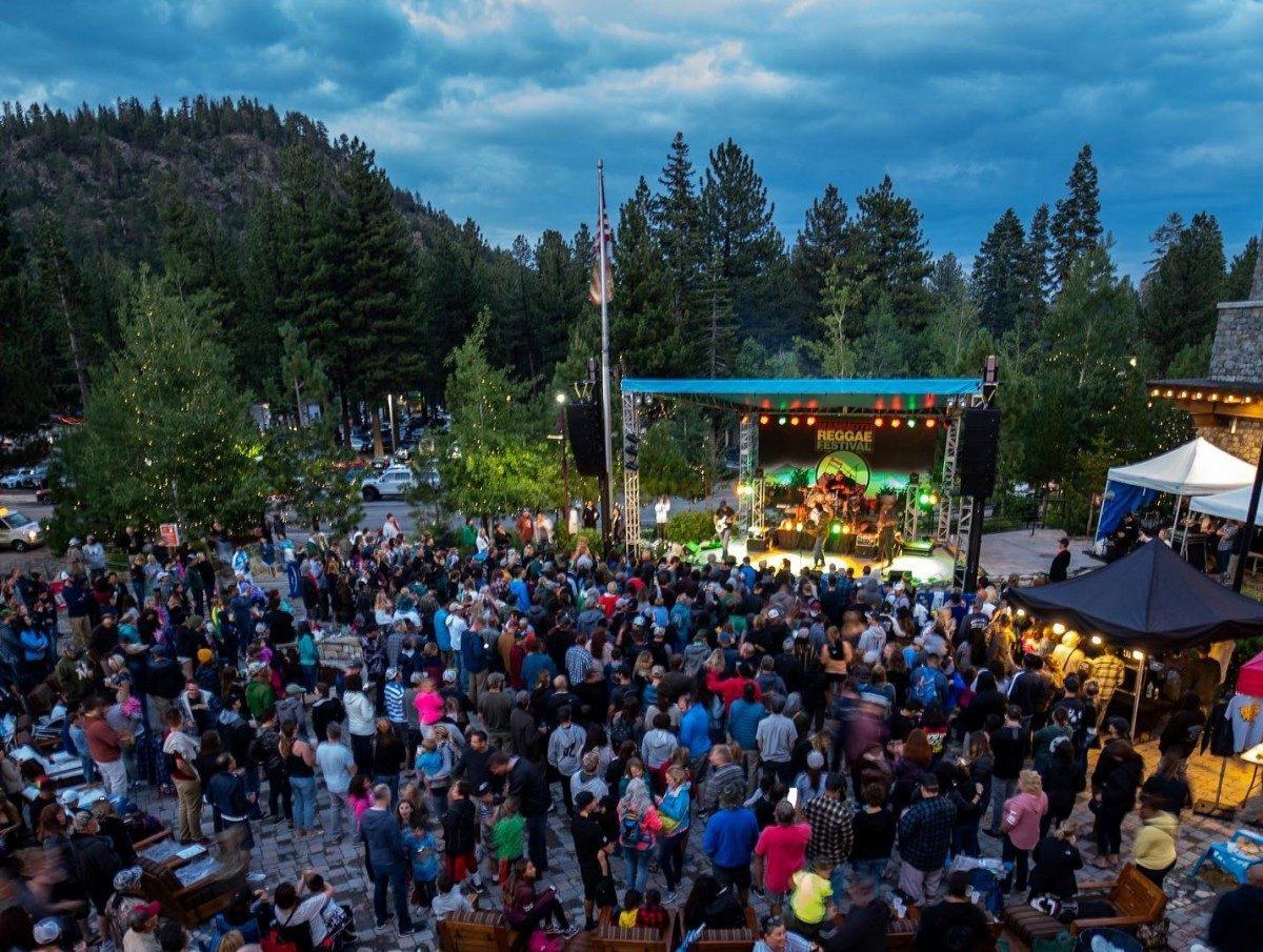 overhead shot of reggae fest in mammoth, california