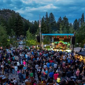 overhead shot of reggae fest in mammoth, california