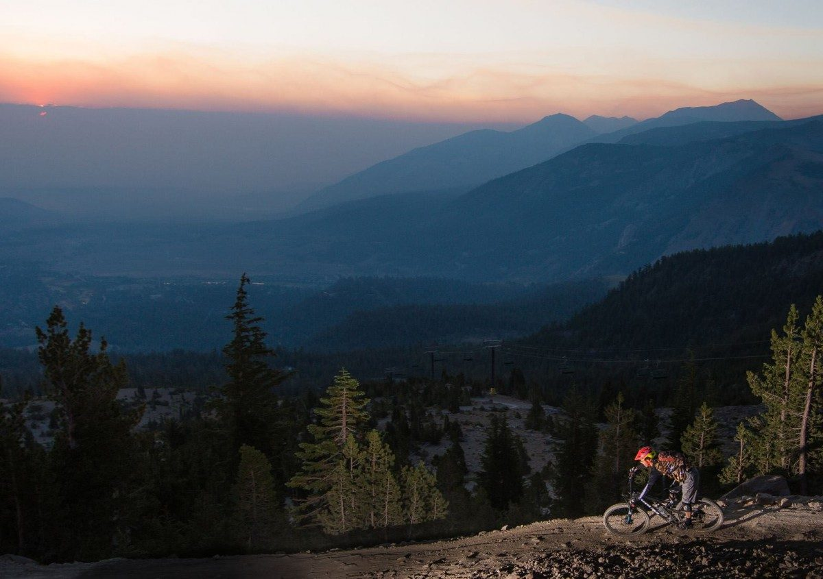 Sunset over Mammoth Mountain Bike Park