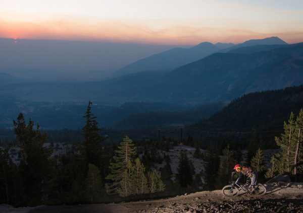 Sunset over Mammoth Mountain Bike Park