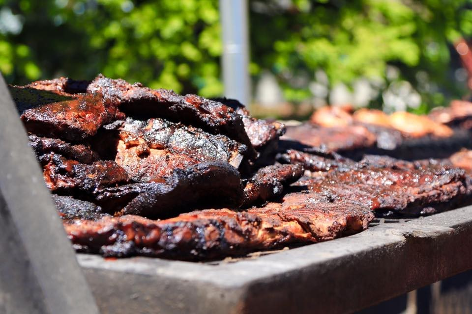 Ribs cooking at Villagefest in Mammoth, CA