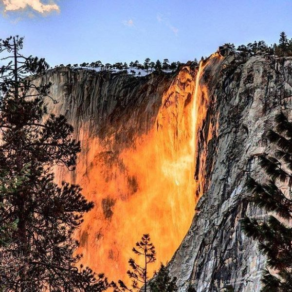 Close up of Horsetail fall in Yosemite National Park