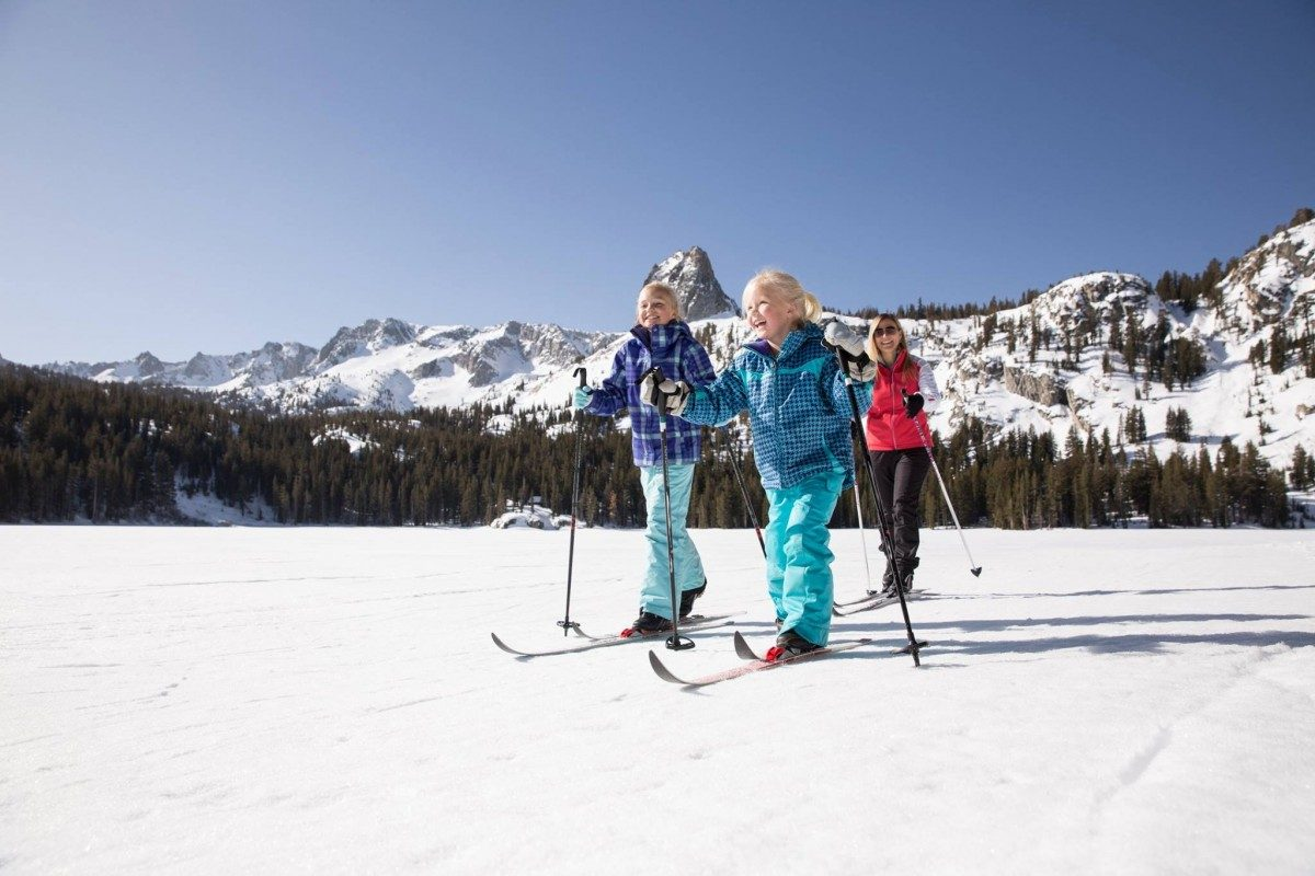 young girls cross country skiing at mammoth lakes