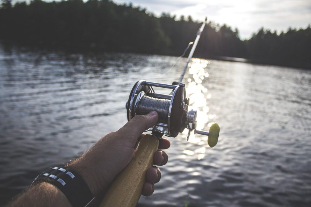 fishing rod help over the lake